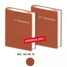 Lot de  2 Agendas Semestriels Tweed  Bordeaux 2020