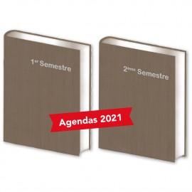 Lot de  2 Agendas Semestriels Bois Marron 2021