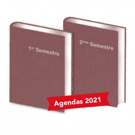 Lot de  2 Agendas Semestriels Tweed Bordeaux 2021
